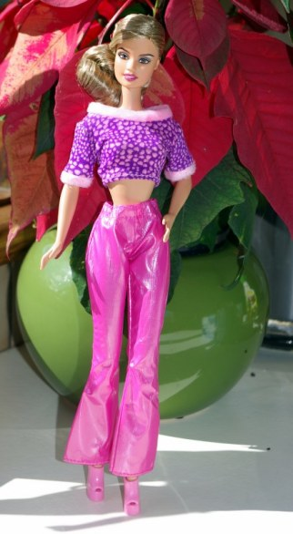 Alison in the Cool and Casual pink pants and mauve top.