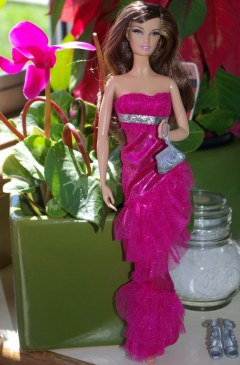 Maddy in the full length fucshia dress