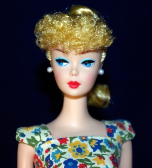 A close up of my new repro Barbie.