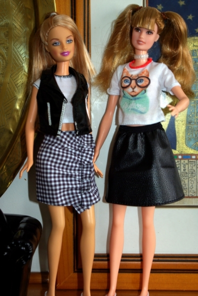 Gemma and Frances swap skirts.