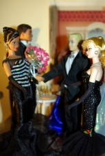 Barbie greets Barak and Michelle.