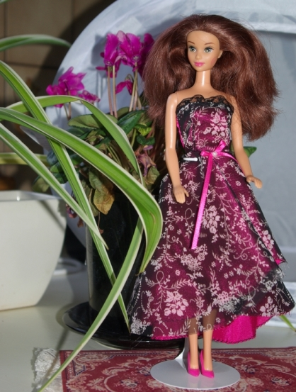 Sylvia in OOAK party dress.